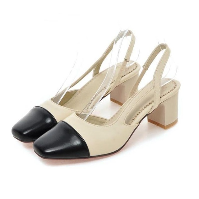 a849496fe95 Fashion Color Block Square Toe Slingbacks Women Pumps Ladies Casual Middle  Height 5cm High Heels Shoes Elegant Female Nude Pumps