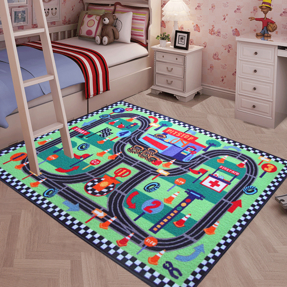 yazi Racing Track Carpet for Children Baby Kids Interest Play Game Rug Living Room Bedroom Home Decor 80x120cm