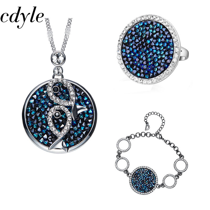 Cdyle Fashion Jewelry Set Blue Gem Women Necklace Ring Bracelet Sets Crystals from Swarovski Bridal Jewellery Set Rhinestone chic rhinestone gem bracelet for women