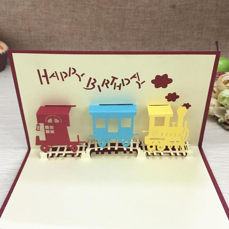 1pcs Happy Train Laser Cut Paper Greeting 3D Pop Up Kirigami Card Wedding Invitation Birthday Valentine's Day Postcards Gifts (3)