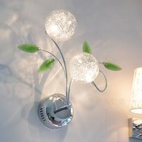 Led wall lamp modern brief green crystal wall lamp bedside wall lamp double slider corridor wall lamp