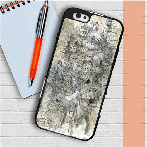 Howls Moving Castle Artwork fashion cell phone case cover for iphone 4 4s 5 5s 5c 6 6s & 6 plus & 6s plus 7 7 plus #DD354