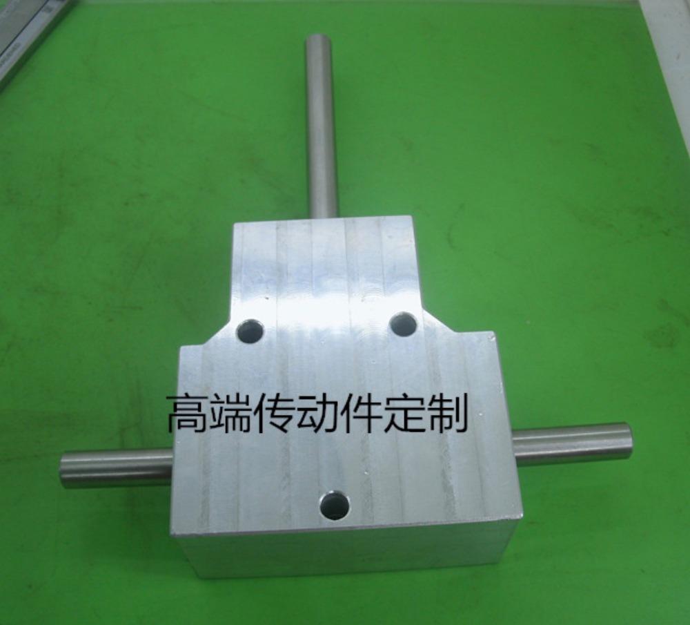 Heavy duty spiral bevel gear box 90 graus de ângulo de saída dupla 8mm relação de redução da caixa de velocidades do eixo: 1: 1