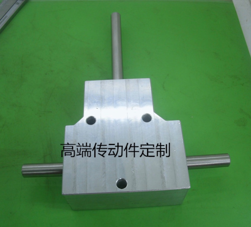 Heavy duty spiral bevel gear box 90 degree angle double output 8 mm shaft gear box reduction ratio:1:1