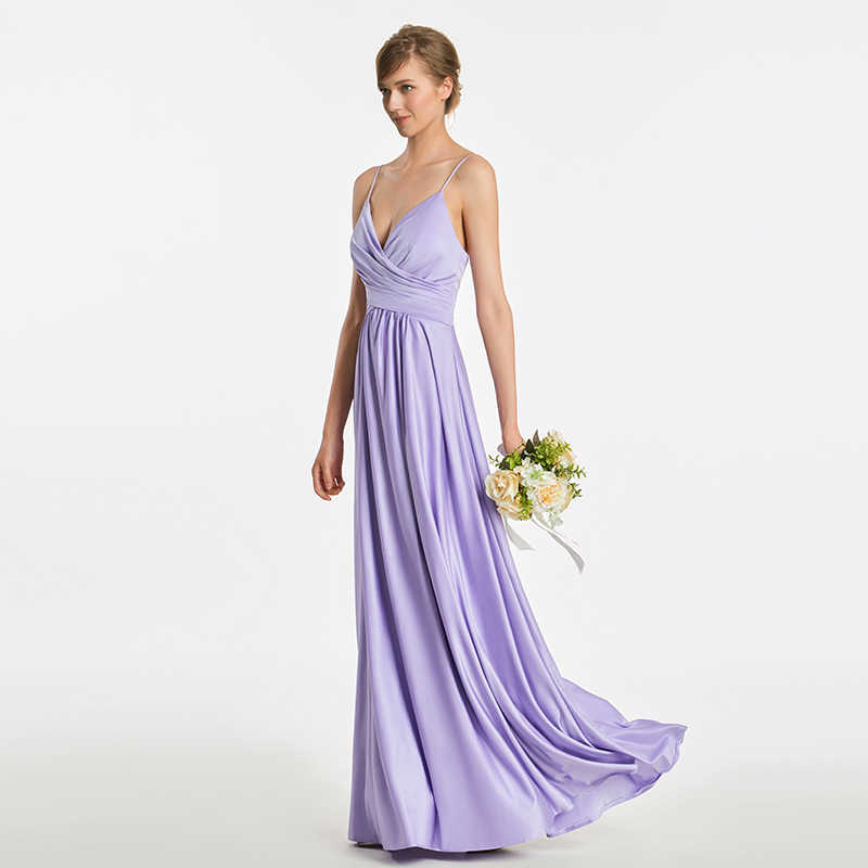 dd59844bdf ... Tanpell spaghetti straps bridesmaid dress lavender sleeveless floor  length a line gown women prom long formal ...