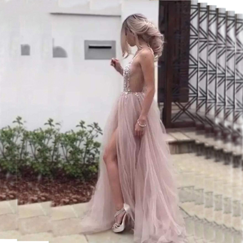 Custom Made Plus Size Sexy Tulle Long   Prom     Dresses   2019 New Arrival Backless Sweep Train Beaded Special Occasion Evening Gowns