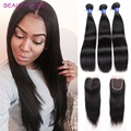 Peruvian Virgin Hair Straight With Closure 3 Pieces Straight Human Hair With Closure Peruvian Straight Hair Top Lace Closure