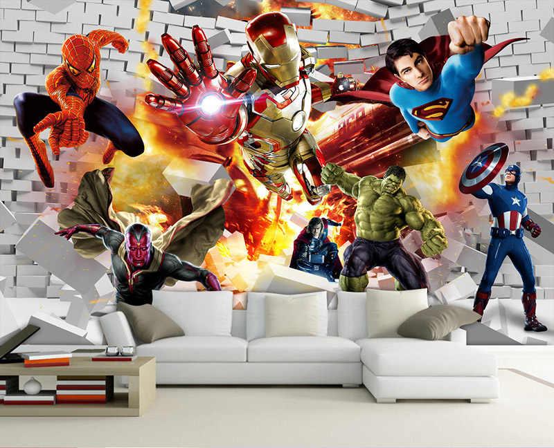 Avengers Hulk Iron man Superman Dinding Mural Wallpaper 3D foto wallpaper Boy Bedroom Batu Bata wallpaper Untuk dinding TV Dekorasi latar belakang