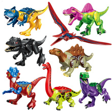 8pcs/set Sermoido Jurassic Sale Dinosaurs Park Pterosauria Triceratops Indomirus T-rex World Figures Bricks Toys Building Blocks