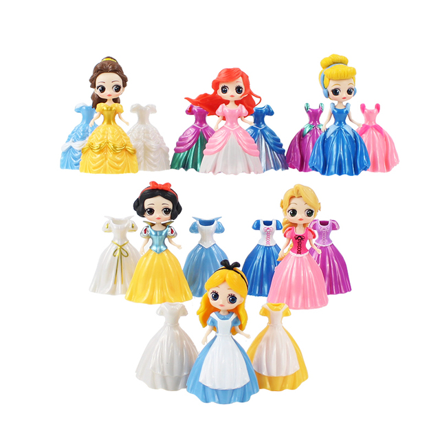 Us 11 44 22 Off 8cm 12pcs Set Snow White Little Mermaid Ariel Alice Belle Change Clothes Action Figure Anime Figurine Toy Model In Action Toy