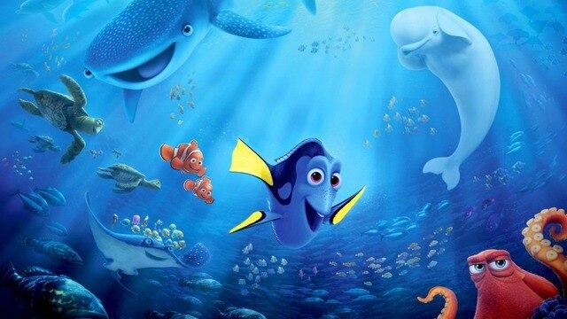 7x5ft Finding Dory Nemo Sotto Il Mare Blu Squalo Hank Pesce Mandria