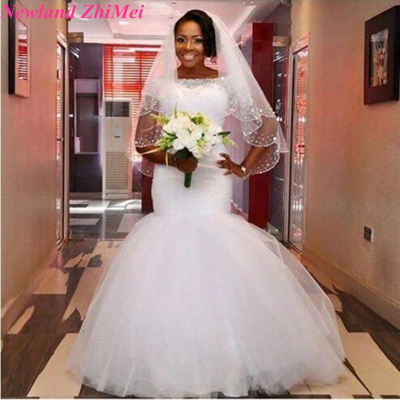 African Style White Wedding Dresses with Short Sleeve Special Design ...