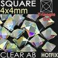Square 4X4mm 350 unids/lote Borrar AB Crystal HotFix Rhinestones FlatBack strass cristal, Fantasía forma DMC Caliente fijar las piedras para la boda