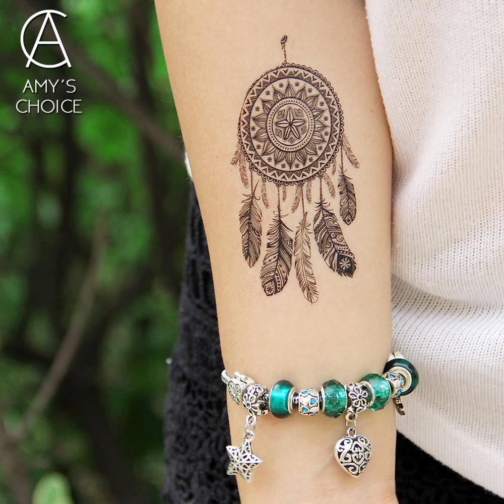 Waterproof Temporary Tattoo Sticker Lace Mandala Dreamcatcher Dream Catcher Tattoo Water Transfer Fake Tattoo Flash Tattoo