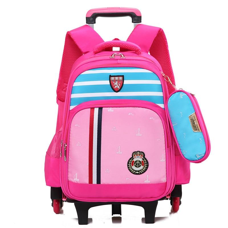 Школьные сумки тележки для девочек детей и школы ребенка рюкзак Съемный 6 колесных рюкза ...