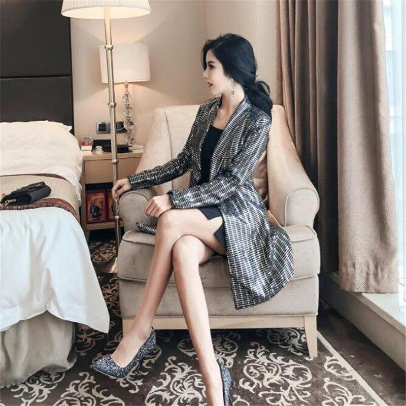 Fille Style Long Manches Moyen Et Mince Longues Costume Nouveau Automne Printemps Période Noble À 2018 Paillettes Le Gray Manteau Mode Corps De Tempérament xf1PqHaw