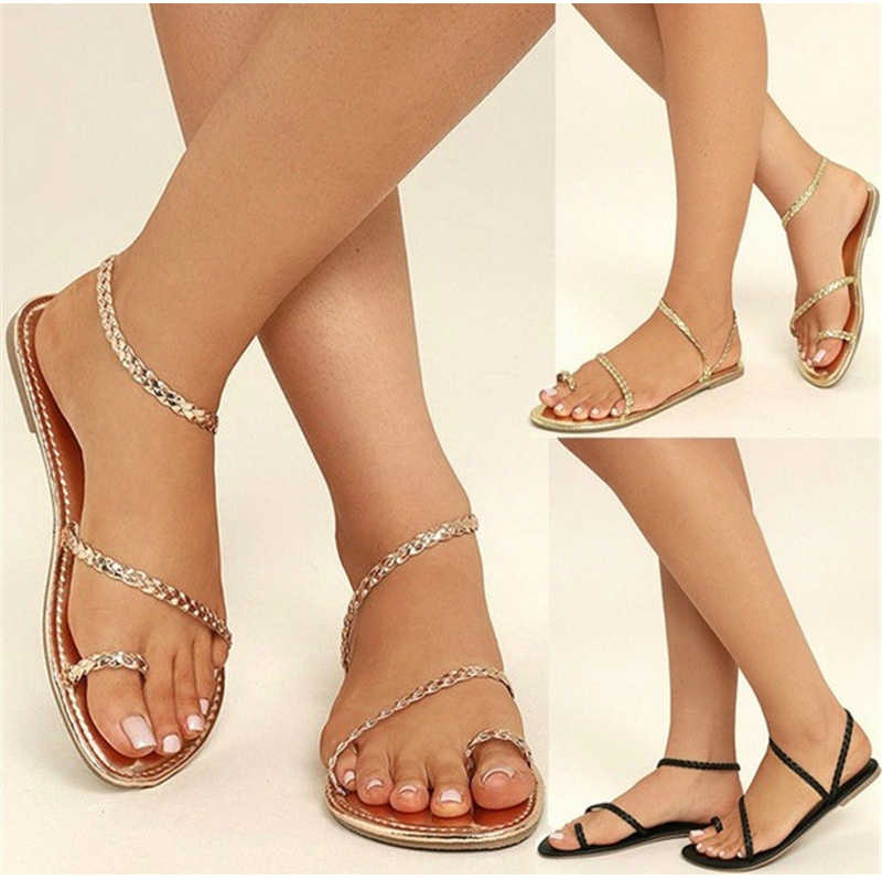 2dcc89cdcc98 ... Women Thong Sandals Female Summer Flip Flops Weaving Casual Beach Flat  With Shoes Rome Style Gladiator ...