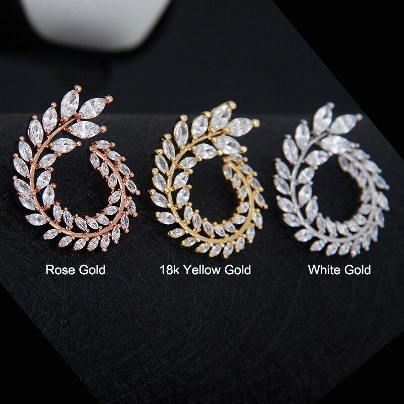 Lüks Marka Yeni Moda Zeytin Şekli AAA + Kübik Zirkon Saplama Küpe - Kostüm mücevherat - Fotoğraf 5