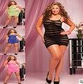 NUEVO 2016 Más El tamaño atractivo de la ropa interior de la señora llena del cordón se desliza vestido XXL-XXXXL Envío Gratis
