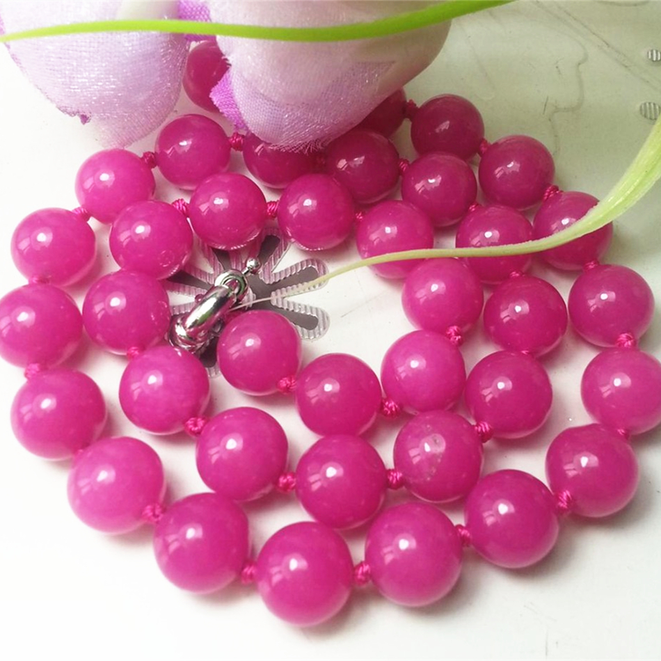 Careful Fashion Noble 10mm Rose Red Chalcedony Jades Round Beads Necklace Elegant Semi-precious Stone Party Gift Jewelry 18inch My3330 And To Have A Long Life. Chain Necklaces