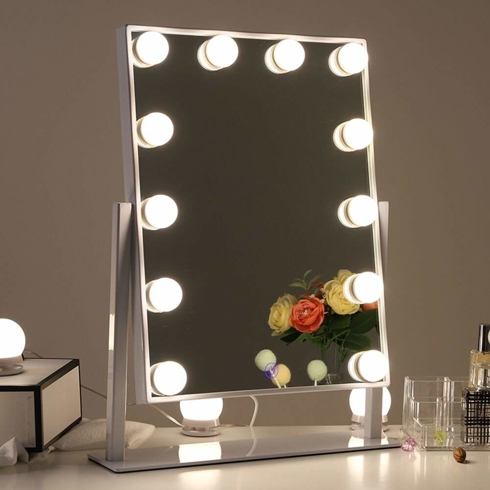Chende Hollywood Table Top Makeup Mirror Vanity Mirror with 12 LED Dimmable Bulb