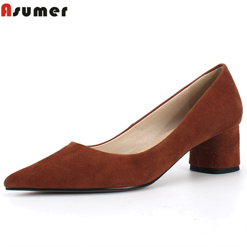 ASUMER 2018 fashion spring autumn shoes woman pointed toe square heel pumps women shoes suede leather high heels shoes shallow xiaying smile new spring autumn women pumps british style fashion casual lace shoes square heel pointed toe canvas rubber shoes
