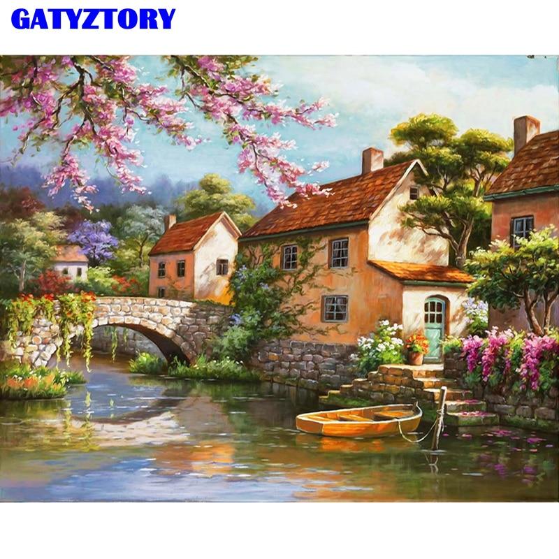 Frameless Εικόνα Τοπίο DIY Ζωγραφική με Αριθμούς Σύγχρονη ζωγραφική τοίχων ζωγραφισμένο στο χέρι ζωγραφική πετρελαίου σε καμβά για το σπίτι Decor 40x50cm