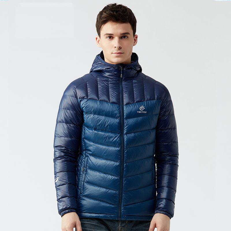 TECTOP Autumn Winter Outdoor Hiking Men Down Jackets Lightweight Thermal Hooded 90% White Duck Down Coats Male