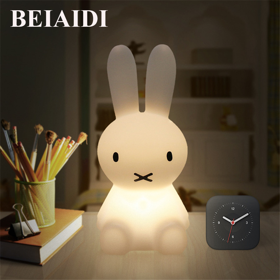 BEIAIDI Novelty Rabbit Night Light USB Rechargeable LED Dimmable Cartoon Atmosphere Gift Lamp Decorative Lamp Bedside Bedroom thrisdar 28cm usb rechargeable novelty rabbit led night light cartoon rabbit atmosphere desk table light baby kids toy s light