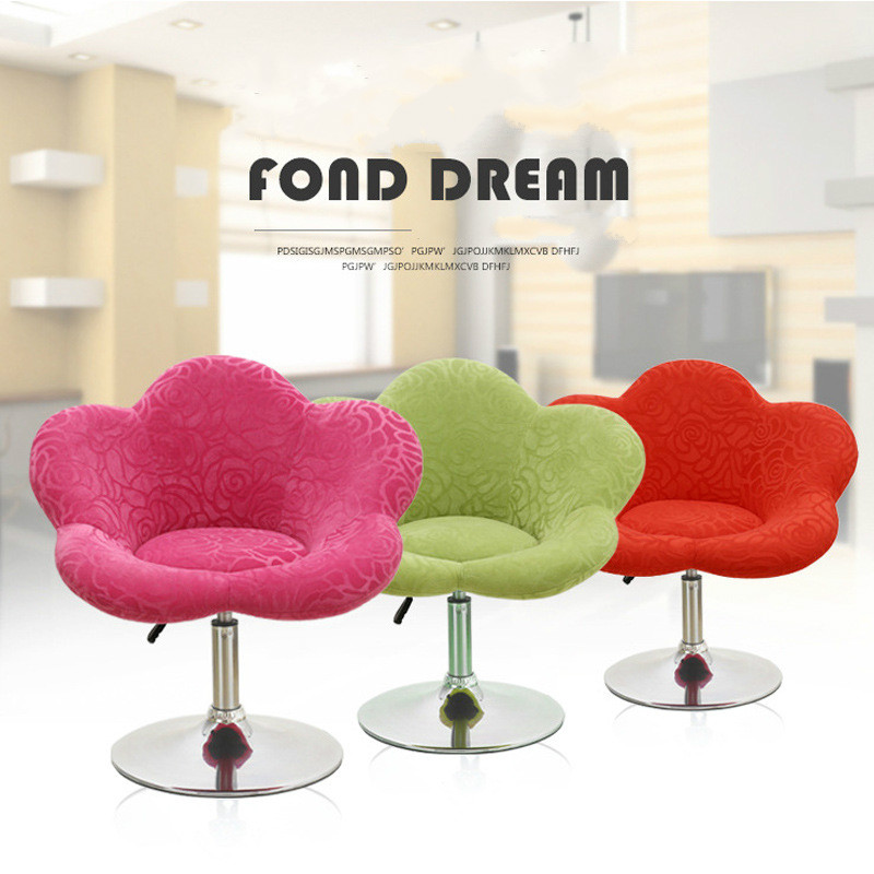 Flower Shaped Single Leisure Chair Lifting Swivel Chair Bar Counter Cafe Hotel Dinning Chair Computer Chair Bed Room cadeira lifting swivel single soft sofa short chair adjustable height rotatable hotel bar restaurant reception cafe chairs cadeira