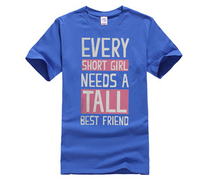 Cute Best Friend Shirts Short and Tall Matching Black Cotton BFF T Shirts Loose Short Sleeve Cute Style Printed T Shirt