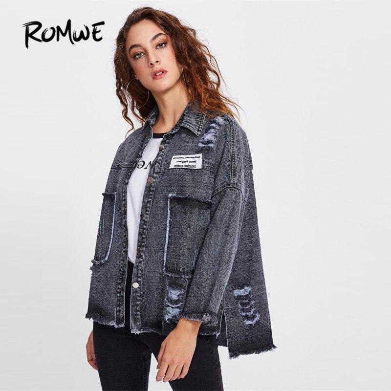 ROMWE Cartoon Bestickt Denim Jacke Regelmäßige Blau Nette Jacke 2018 Herbst Stickerei Einreiher Casual Jacke