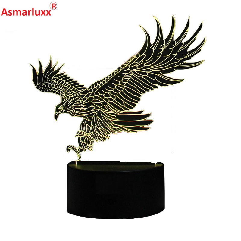 US $1299 35 OFFFlying Big Eagle Shape Night Light Colorful Hawk 3D Table  Lamp for Office Hotel Bedroom Bar WOW Amazing Gift For Guys Friends-in LED