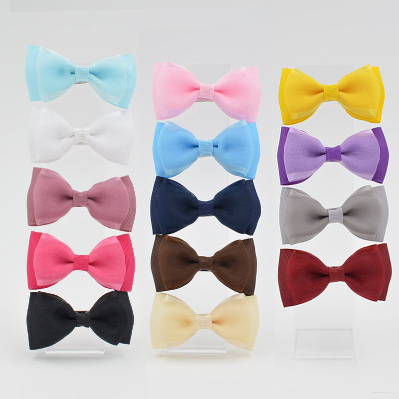 High Quality barrettes 3 inch Grosgrain silk Ribbon Boutique Hair Bows With Clip Hairpins For Kids Girl Hair Accessories new product high quality grosgrain