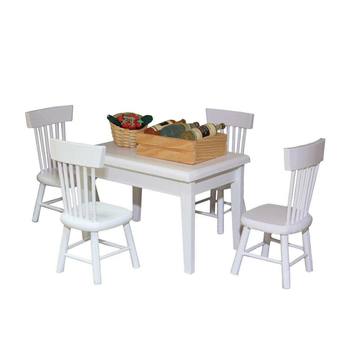 1:12 Berken Kinderen Diy Play & Pretend Speelgoed Eettafel En Stoel Set Voor Kid Spelen Keuken Kits Onderwijs Speelgoed Voor Kids