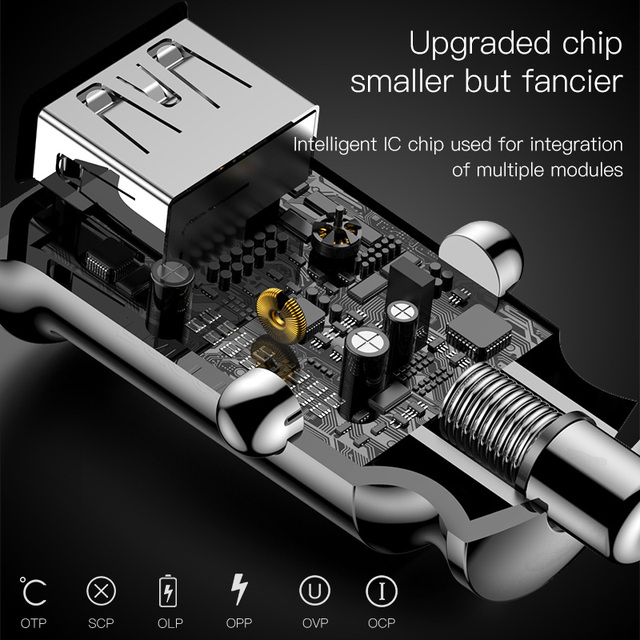 Baseus Mini 3.1A Fast Charging Dual USB Car Charger