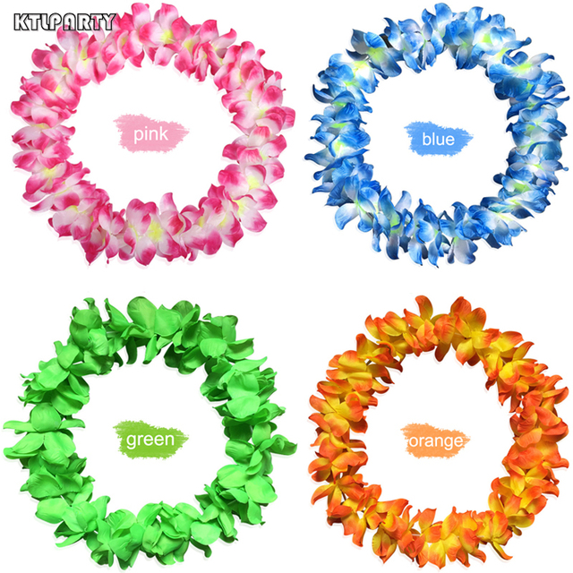 Artificial Eco Friendly Hawaiian Flower Garland Necklace Colorful Party Hawaii Beach Flowers DIY Party Beach Decoration Wreath