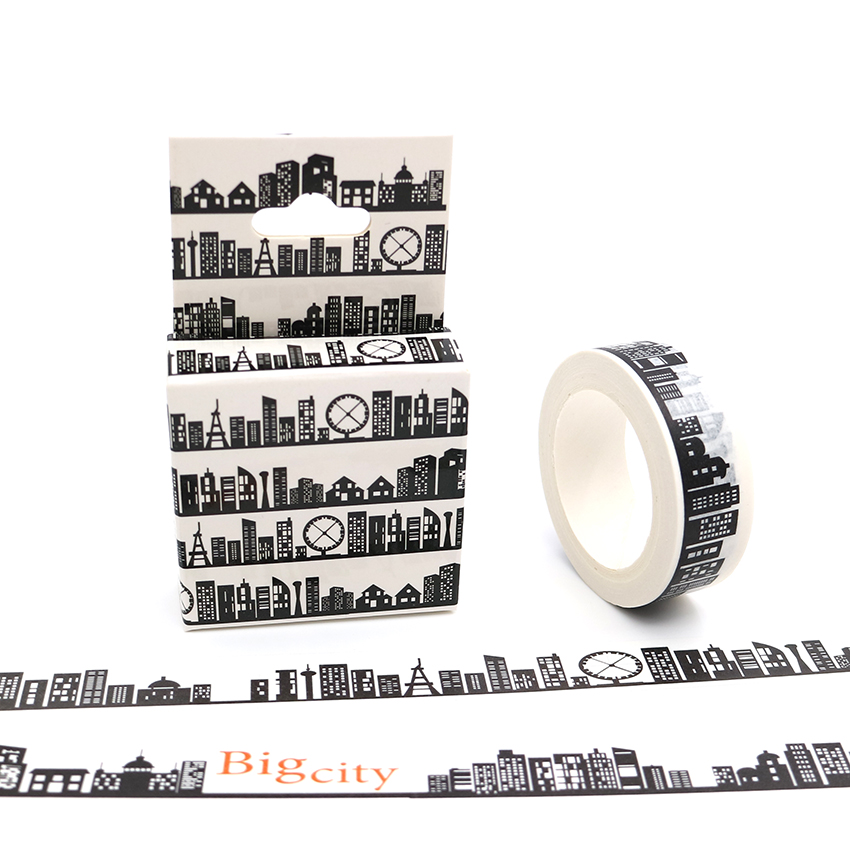 15mm*10m Box Package City Black White Washi Tape DIY Masking Paper Tapes Scrapbooking Sticker Stationery School Supplies