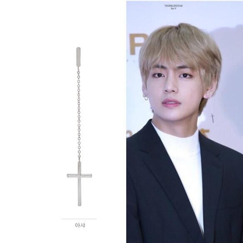1pcs Fashion Jewelry Korean Pop Bangtan Boys Album V DNA Cross chains Stud Earrings For Women Men Vintage Geometric BTS Earring