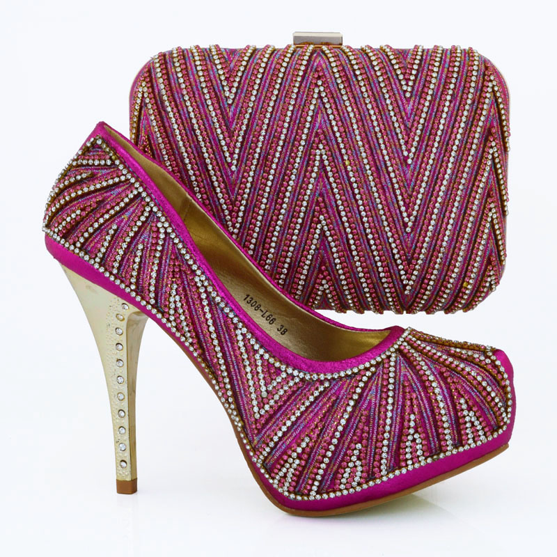 ФОТО Beautiful Italian summer style shoes matching with bag,High quality African round toe shoes and bag sets in fuchsia WOW39