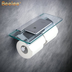 Image 2 - Beelee Toilet Paper Holder Double Solid Brass with Glass Bathroom Toilet Roll Holder For Roll Paper Bathroom Accessories