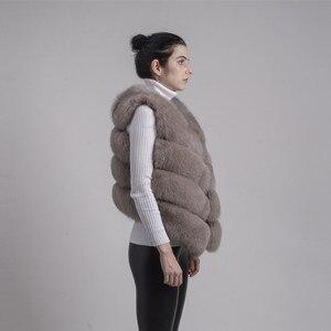 Image 2 - QIUCHEN PJ8005 2020 새로운 도착 뜨거운 판매 자연 진짜 여우 모피 짧은 조끼 gilet 겨울 여성 조끼 고품질 두꺼운 모피