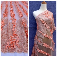 Pink Wine Red Blue Handmade3D Flowers Beading Sequins Wedding Evening Show Dress Lace Fabric 51 Width