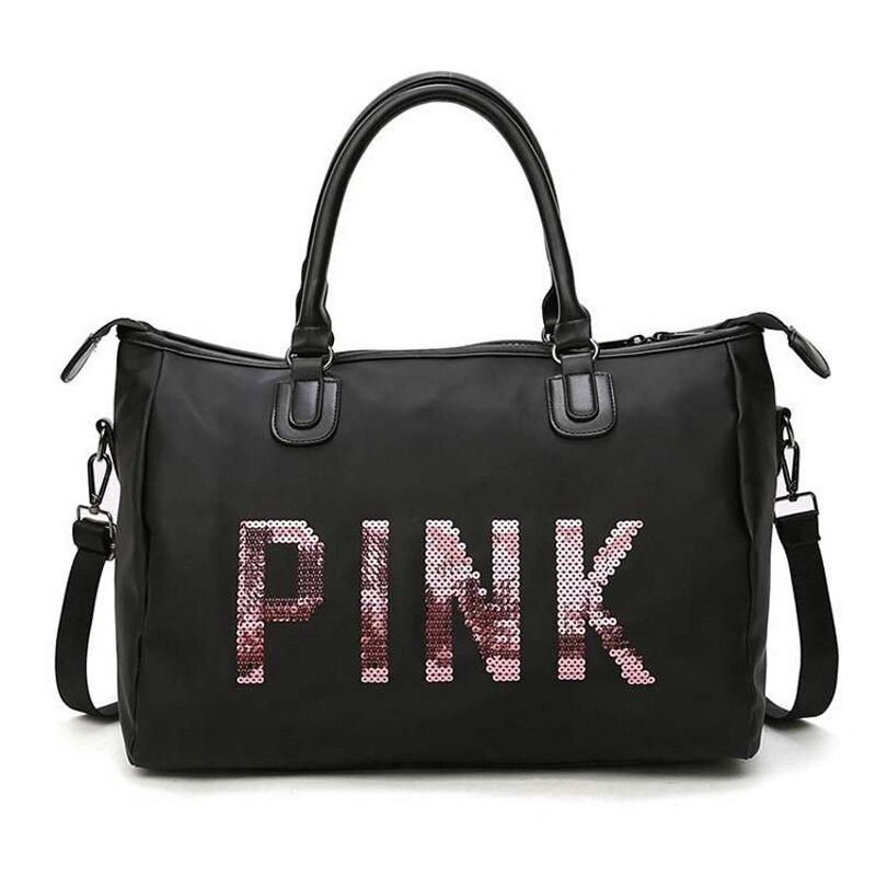 Fashion Ladies Travel Bags Pink Sequin Shoulder Bag Large Capacity Training Luggage Bags Multi-function Weekend Duffel Bag