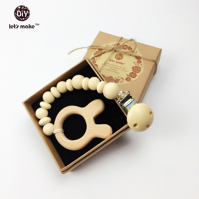Gift Natural chunky wooden beads dummy clip and wooden round teether soother clip dummy chunky pacifier  wooden round teether