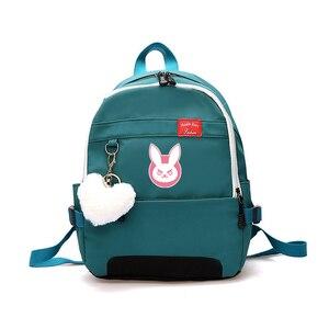 Image 4 - Game OW DVA Harajuku Nylon Backpack Female Travel Backpacks Stylish School Student Bag Pack Teenager Laptop Shoulder Travel Bags