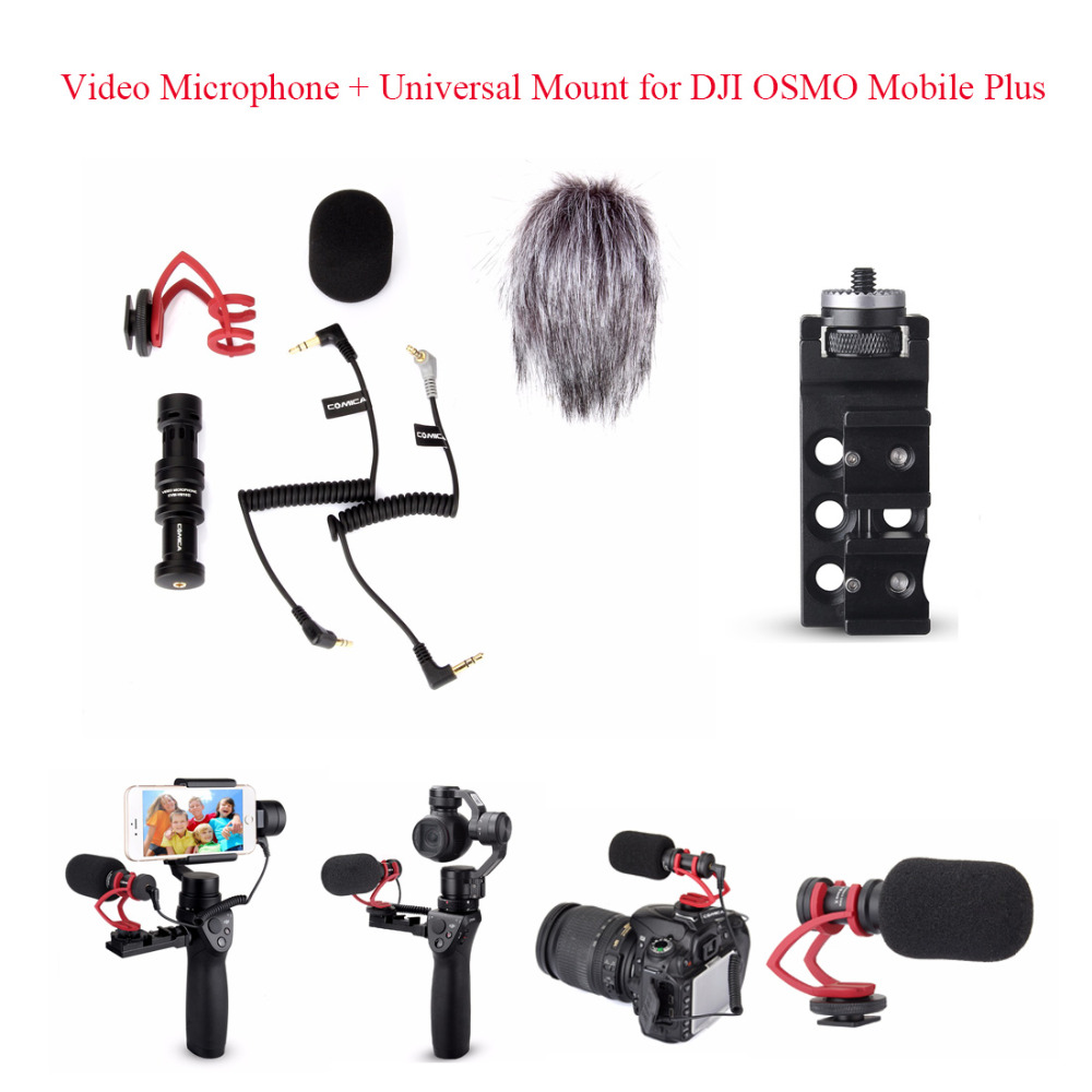 COMICA CVM-VM10 II Kit Cardioid Directional Condenser Video Microphones Mic + Universal Mount for DJI OSMO Mobile Plus,Red comica cvm vm10 ii microphone for dji osmo mobile plus smartphone gopro micro camera cardioid directional shotgun microphone