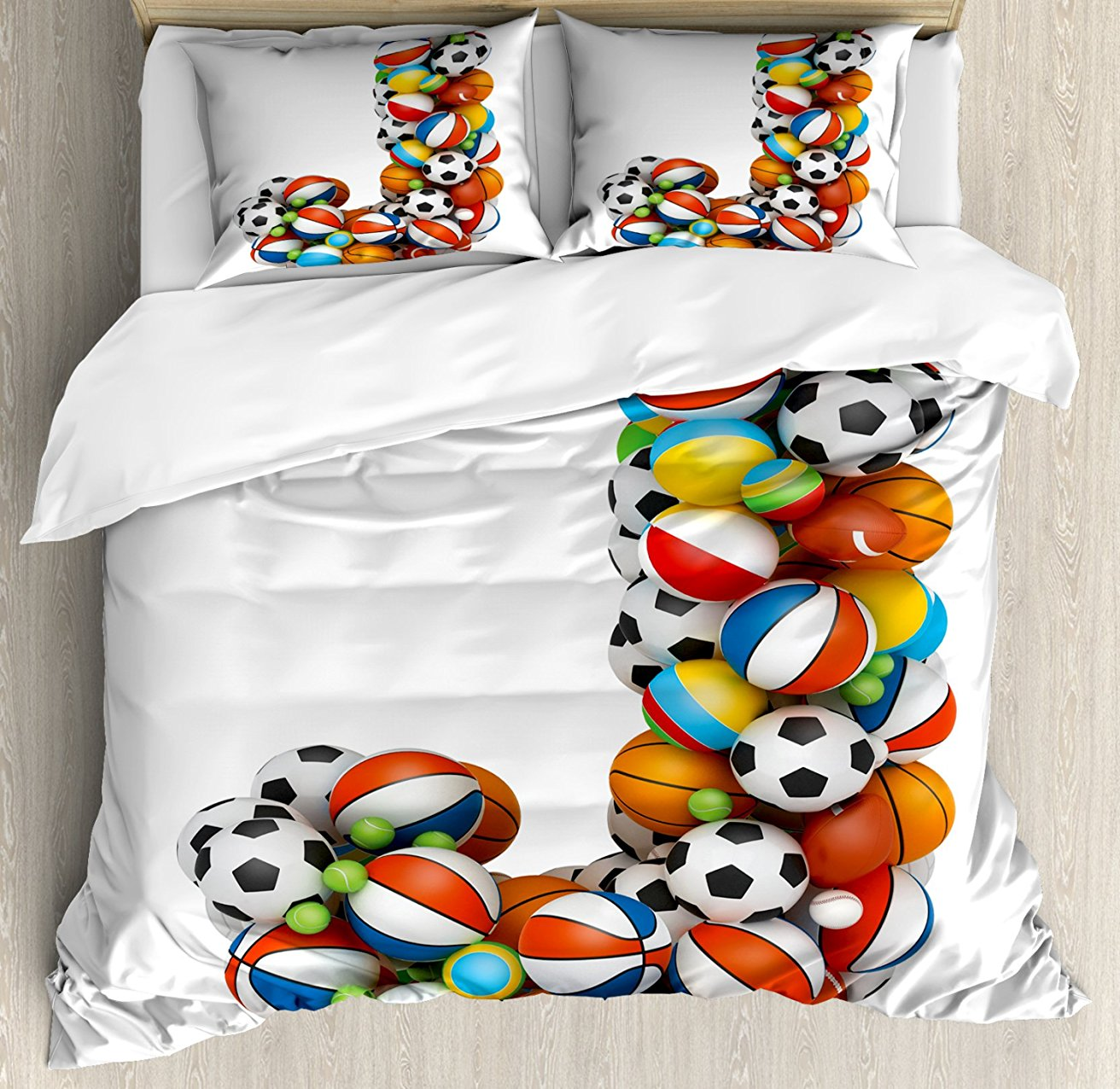 Duvet Cover Set Letter J Capitalized Sporting Goods Basketball Football Pigskin Fun Games Design Decorative 4 Piece Bedding Set