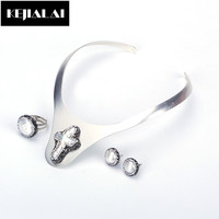 KEJIALAI Bohemian Ethnic Style Jewelry Sets Silver Color Choker Necklace Pearl Stud Earrings Round Pearl Ring Rhinestone Gift