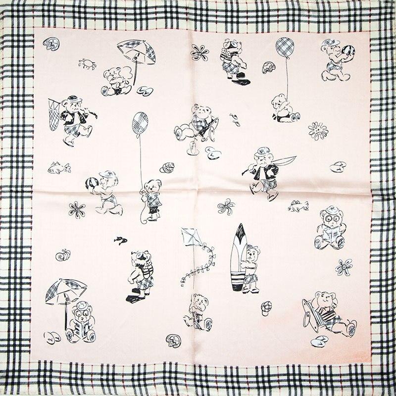 ₪100% bufanda de seda cuadrada mujeres bufanda ositos pañuelo ...